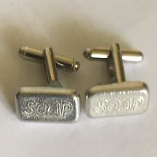 Cufflinks Made From English Modern Pewter Bar Of Soap Tg88 Pair Of