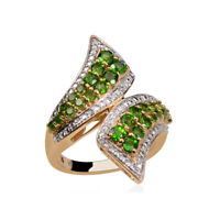 Cluster Ring 925 Silver Chrome Diopside Zircon Jewelry For Women Size 7 Ct 2