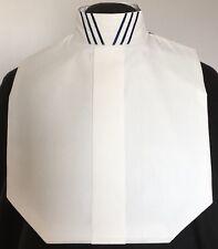 English Hunt Seat Ratcatcher White Show Bib Dickie Drk Blue Collar Embellishment