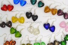 FREE wholesale lots 6Pairs heart murano glass bead Silver tone earrings