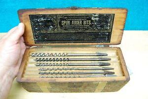 Antique Russell Jennings mfg co Spur Auger Drill Bit Tool Set & Wooden Box