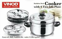 Vinod Stainless Steel Cooker With 4 Tiers Idli Maker Plates