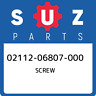 02112-06807-000 Suzuki Screw 0211206807000, New Genuine OEM Part