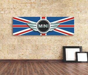 Mini  Vinyl Sign Banner  UK British Cooper Automotive Wall Garage Gift Décor