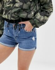 Bershka Destroyed Blau Turn Up Denim Shorts-Größe: 8