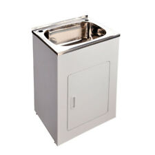 555*455*870mm Laundry Tub Single Bowl Stainless Steel Sink with White Cabinet