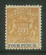 RHODESIA - 1895 4d Arms Revenue (P12½) (ME671)*