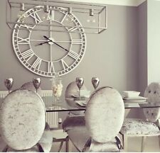 Extra Large White Metal Iron Roman Numeral Wall Clock Shabby Chic