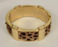 Leopard Print Calf Hair Gold Tone J. Crew Bangle Wild Side Wide Bracelet