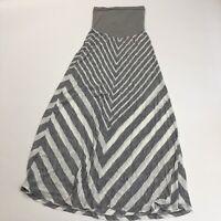 OH Baby Motherhood Maternity Striped Maxi Skirt Women's Size Small Gray White