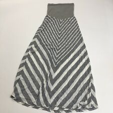 OH Baby Motherhood Maternity Striped Maxi Skirt Women's Size Small Gray White