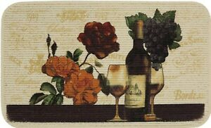 """TEXTURED PRINTED KITCHEN RUG/MAT (18""""x30"""") WINE,ROSE FLOWERS & GRAPES, rect., MS"""