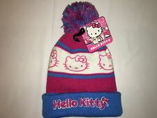NWT HELLO KITTY knit hat & glove Girl ONE SIZE FITS MOST (2T-8?) blue white pink
