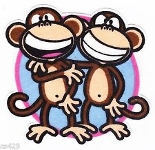 """3"""" BOBBY JACK 2 MONKEYS TEXT ME WALL SAFE FABRIC DECAL CHARACTER CUT OUT"""