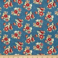 Blue Meadow Blue Bouquets Cotton Fabric Reproduction Marcus BTY  Bfab