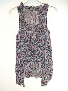 Lovely Black, Grey & Pink Sleeveless Patterned Top from New Look - Size 10