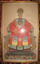 ANTIQUE CHINESE ANCESTOR PORTRAIT IN BEAUTIFUL ROBE DRAGONS IN GOLD JADE/PEARLS