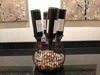 Gianna's Home Metal Wine Barrel Cage Cork and Bottle Holder