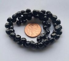 "8"" Strand Natural Black Spinel Fancy Cut Onion Briolette Loose Beads Gemstones"