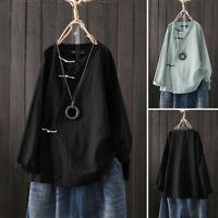 Women Vintage Long Sleeve Casual Loose Cotton Linen Shirt Baggy Tunic Top Blouse