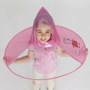 Girls Boys Cartoon Rain Coat Duck Kids Childrens Umbrella Hat Hooded Poncho B19