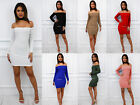 Glamzam New Womens Ladies Long Sleeve Off Shoulder Bardot Mini Bodycon Dress