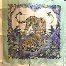 """100% authentic HERMES 140cm cashmere and silk GM shawls / scarf, """"Jungle Love"""""""