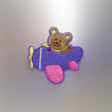 Flying Little Bear Patch — Iron On Badge Embroidered Motif — Cute Teddy Plane