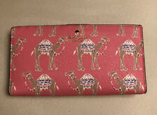 KATE SPADE NEW YORK CAMEL MARCH STACY LEATHER WALLET PINK WITH BEIGE INTERIOR
