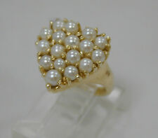 VINTAGE 14K YELLOW GOLD HEART SHAPE PEARL CLUSTER RING~SIZE 2 1/4~ESTATE