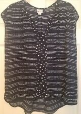 STYLUS WOMEN'S NAVY BLUE AND WHITE STRIPED HI-LO TOP BLOUSE SIZE LARGE
