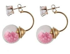 DOUBLE BUBBLE GLASS BALL PINK BEADS CRYSTAL STUD EARRINGS