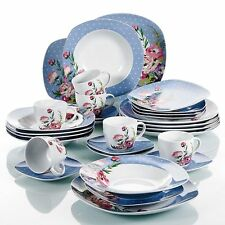 30Pc Dinner Set Crockery Dining Service for 6 Plates Bowls Cup Saucer Dinnerware