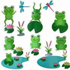 Cute Frog Decals Wall Stickers Jumping Frogs with Dragonflies and Lotus - Pond F