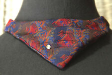 Vintage Pleated Brocade Clip-On Triangle Tie Neckwear with Prong Set Rhinestone