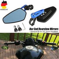 "7/8"" 22mm Aluminium Motorrad Lenker Endseite Rückspiegel Lenkerendenspiegel Blau"