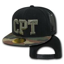 Black & Camo Compton CPT Embroidered Hip Hop Flat Bill Snapback Baseball Cap Hat