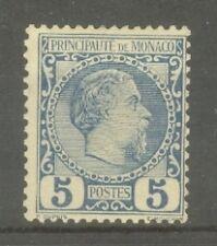 """MONACO STAMP TIMBRE N° 3 """" PRINCE CHARLES III 5c BLEU 1885 """" NEUF xx TTB"""
