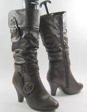 "new ladies Brown 3""block High Heel Round Toe Sexy Knee Boots Size 7"
