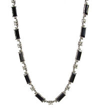 NWT MONET Jet Black Stone Silver-Tone Collar Necklace  $60