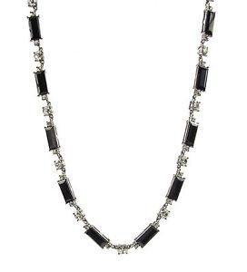 Monet Jet Black Stone Silver Tone Collar Necklace $60 NEW
