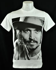 Johnny Depp Great Actor Star Rock Punk White Crew Tee T-Shirt Size L