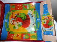 """HOLIDAY LACUCINA 10"""" SQUARE GLASS PAINTED SANTA PLATE AND SERVER NEW IN BOX"""