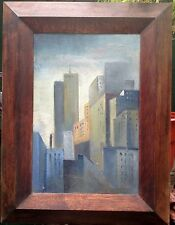 Gorgeous, L Smith (2004) Oil on panel - View of NY (with Twin Towers)