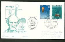 SAN MARINO FDC CAPITOLIUM EUROPA AUGUSTE PICCARD 1983 RARA 2 VALORI GENIO UMANO