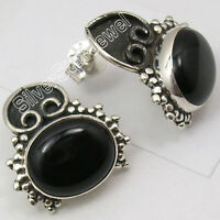 "925 Sterling Silver Real BLACK ONYX ETHNIC UNUSUAL STUD Earrings 0.7"" OXIDIZED"