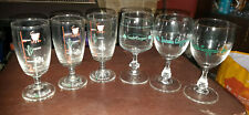 IRISH COFFEE STEMMED GLASSES SHAMROCK GREEN ETCHING/RECIPE x 6