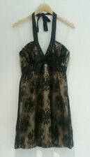 Bnwt River Island Black Lace Dress Size 10 Party Halterneck Nude Satin Underlay