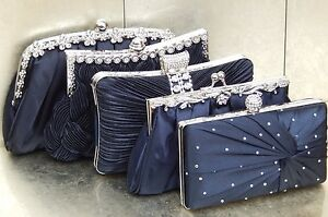 Navy Blue Diamante Crystal Satin Bridal Wedding Prom Purse Clutch Bag Handbag UK