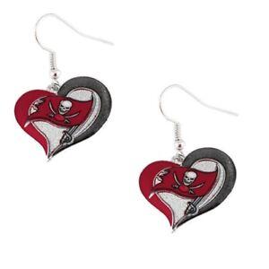 Tampa Bay Buccaneers Football NFL Heart Swirl Charm Silver Dangle Earrings Set